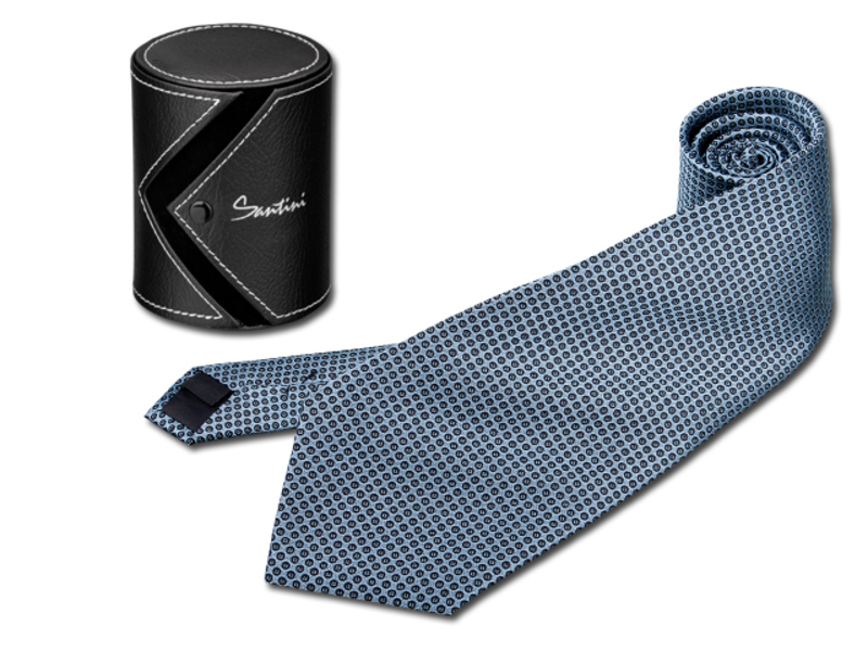 QUARDO men's tie in gift box, SANTINI, Blue