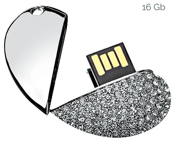 USB SILVER HEART 38x43 mm