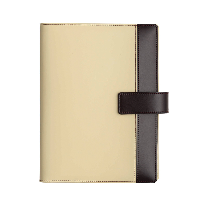 Agenda din piele Diamante Cream/Bordo, 17×24 cm
