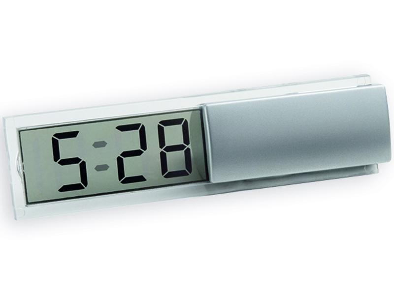 ICY II table clock, Satin silver