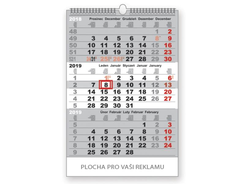 3-MONTH STANDARD WALL CALENDAR 2020 3-M wall calendar, 32x42cm