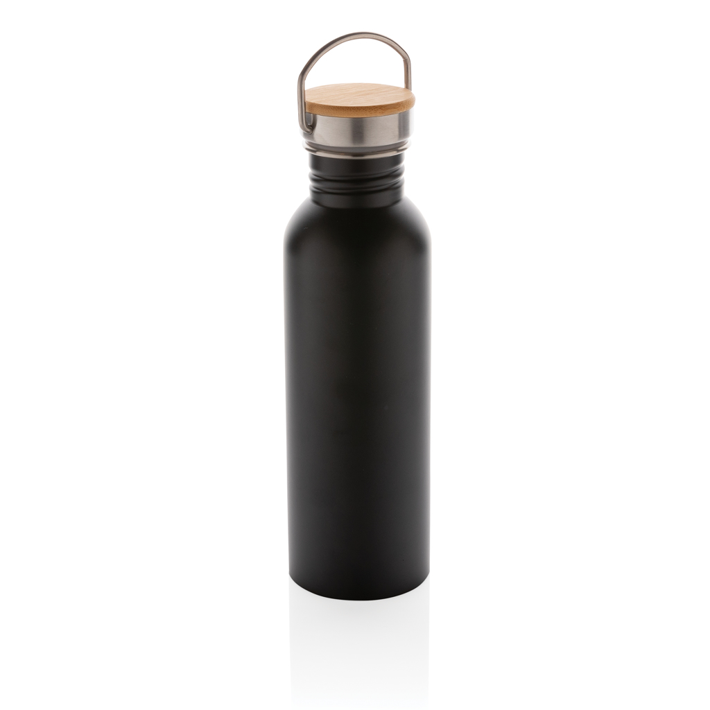 Modern stainless steel bottle with bamboo lid