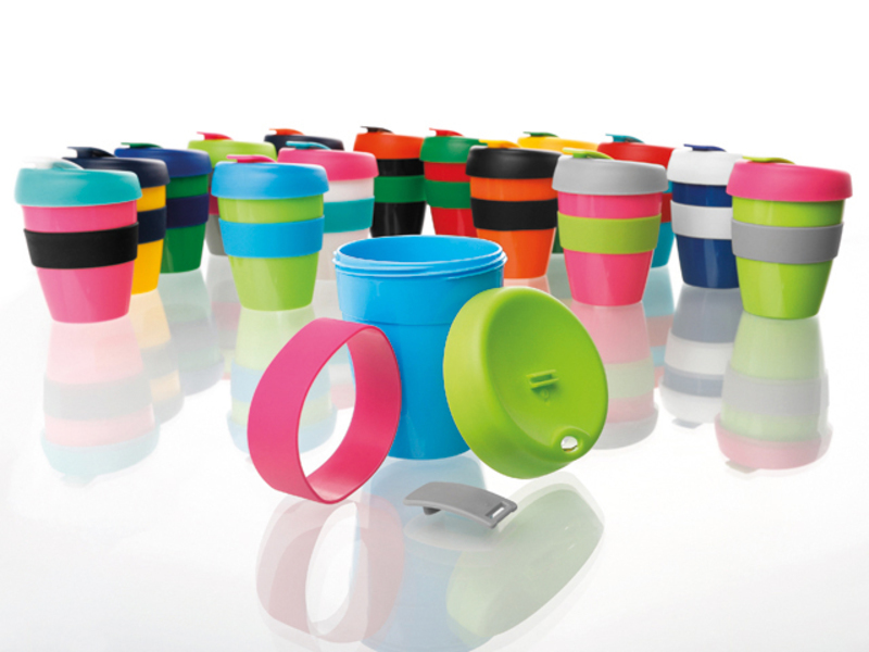 TUMBLER MIX Plastic cofee cup with a lid and silicone ring