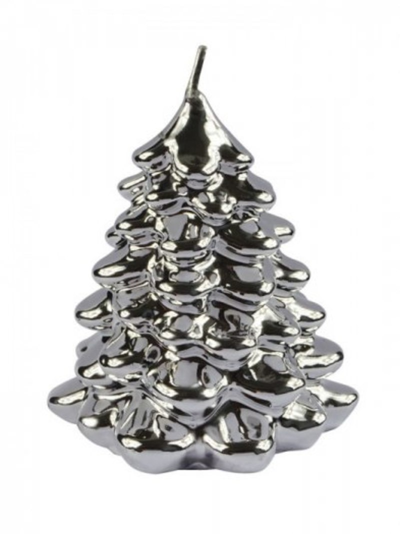 CANDLE CHRISTMAS TREE SILVER SHINY