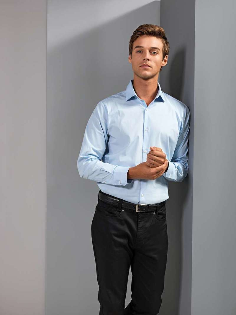 MEN'S STRETCH FIT POPLIN LONG SLEEVE COTTON SHIRT