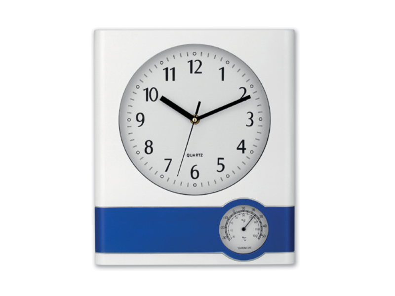 SELINA wall clock with thermometer, Blue