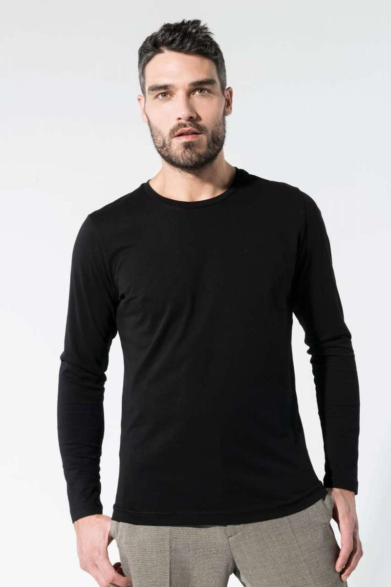 MEN'S ORGANIC COTTON CREW NECK LONG-SLEEVED T-SHIRT