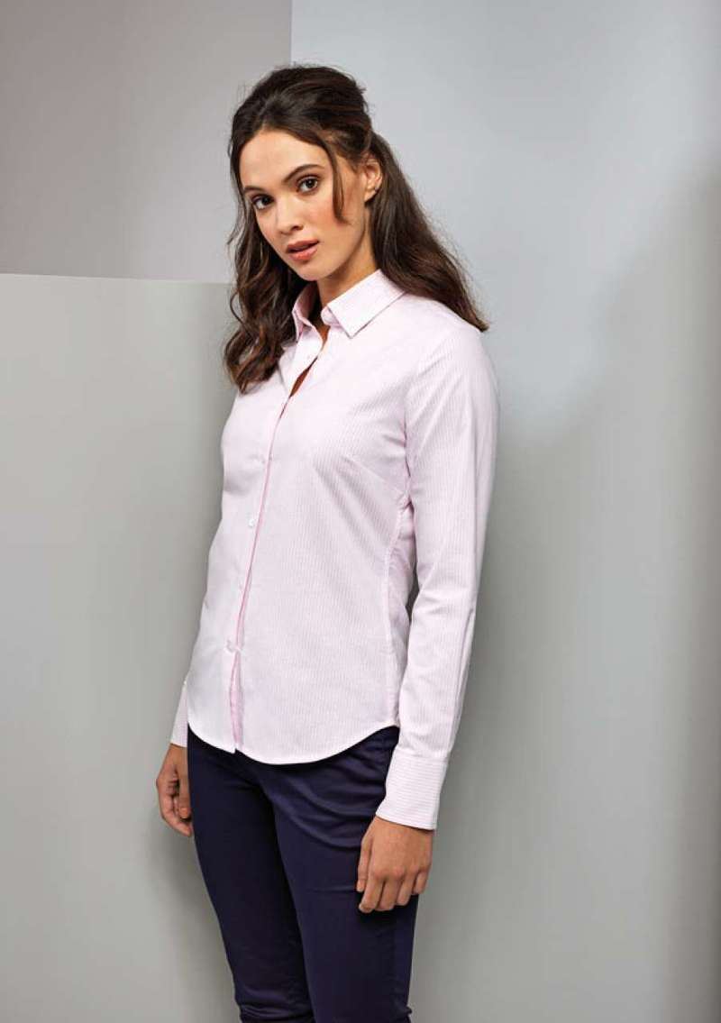 LADIES' COTTON RICH OXFORD STRIPES SHIRT