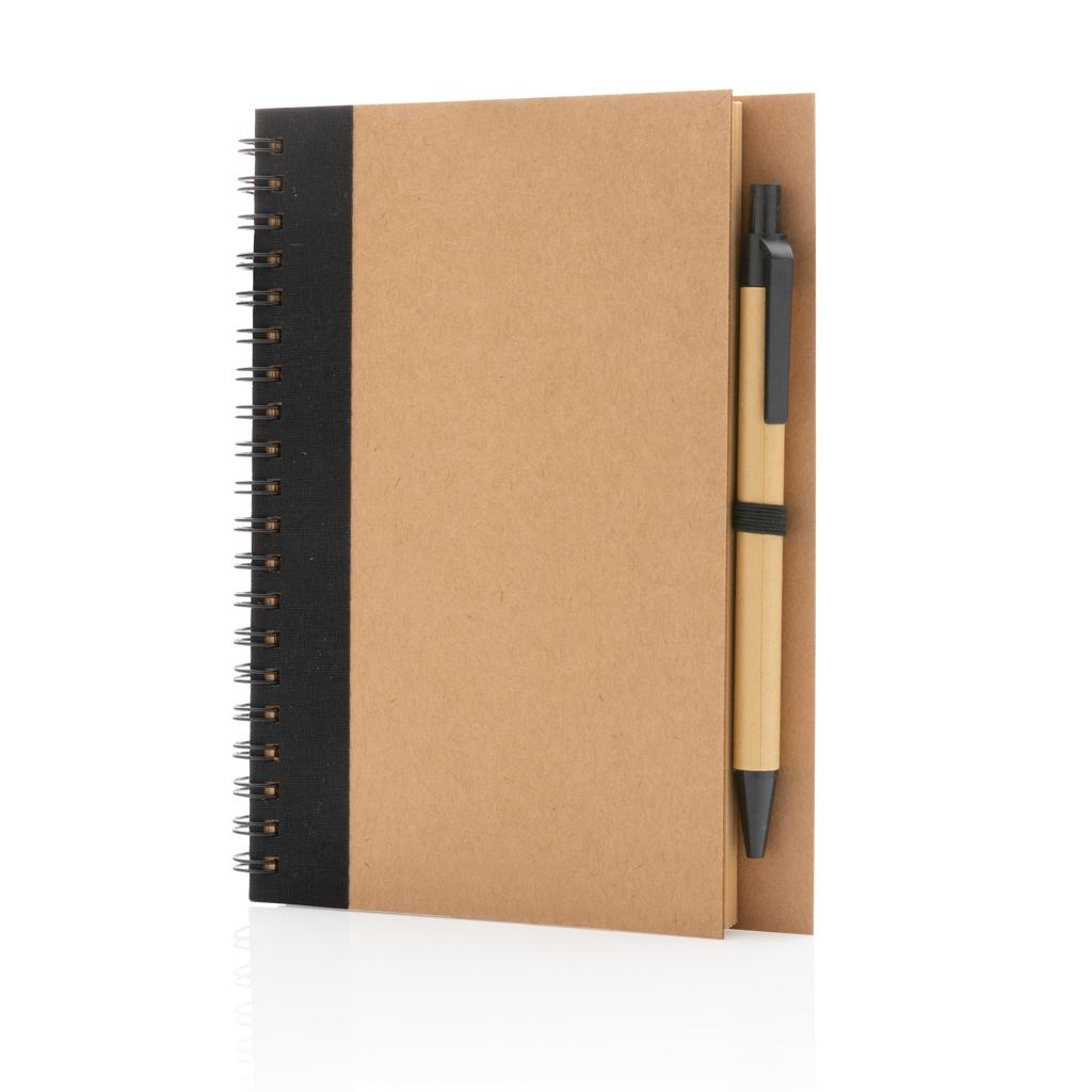 Kraft spiral notebook with pen