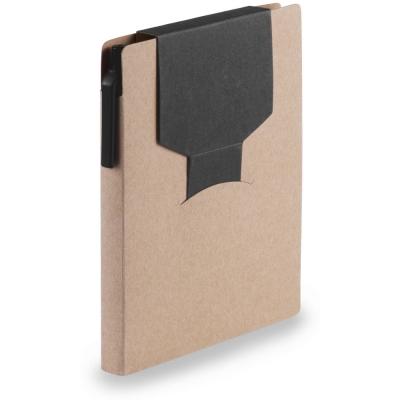 Memo holder, notebook A6, sticky notes, ball pen