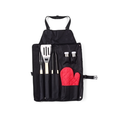 Apron with barbecue set
