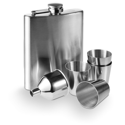Hip flask 220 ml, cups 30 ml, funnel