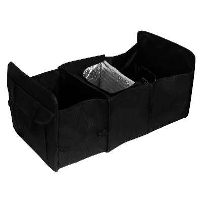 Foldable car organizer with cooler compartment