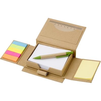 Memo holder, notebook, sticky notes, ball pen, ruler