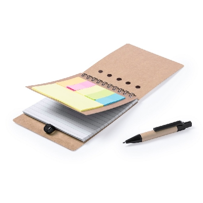 Memo holder, notebook approx. A6, sticky notes, ball pen