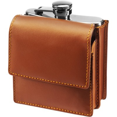 Hip flask 180 ml in leather pouch