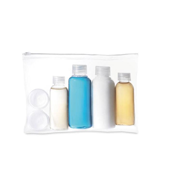 Travelling pouch with bottles