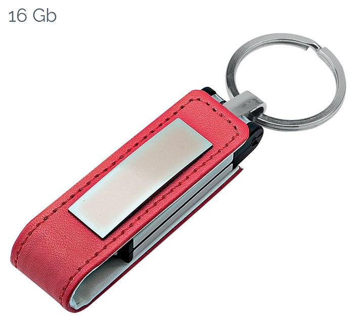 USB RED LEATHER 22x105 mm