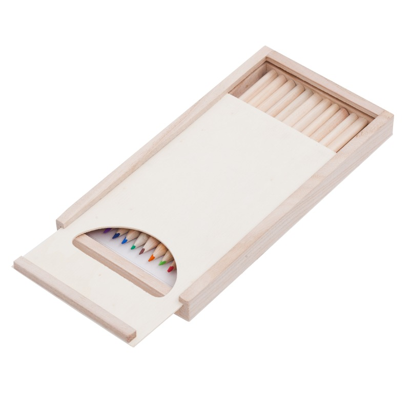 SLIDE ON a set of crayons and paint pictures in a box,  brown