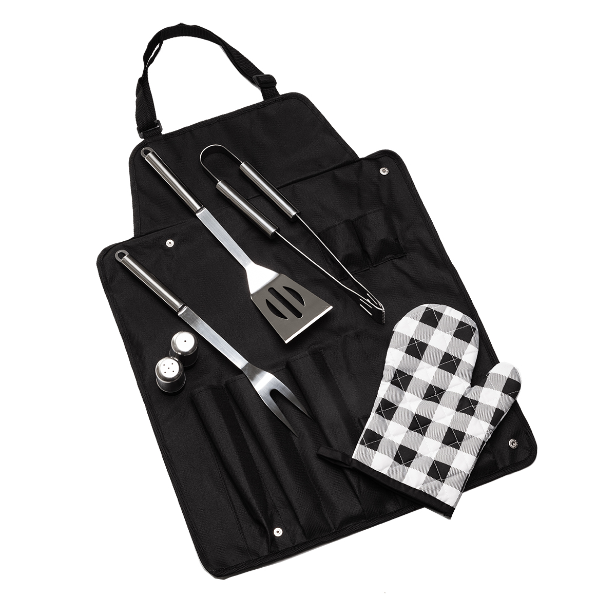 STEAKOUT&BBQ set for barbecue with apron,  black