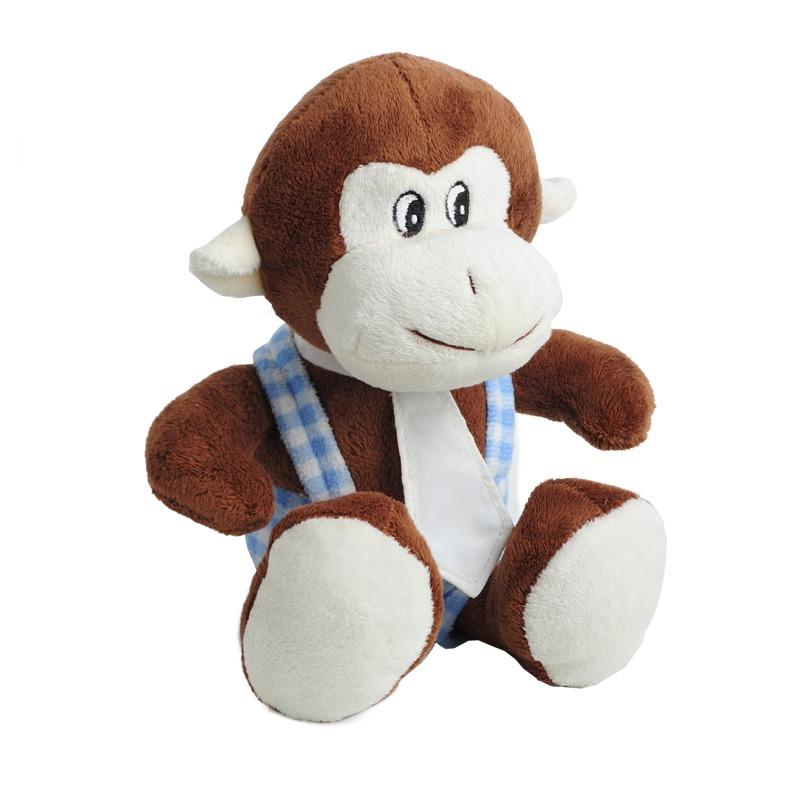 MONKEY plush toy,  brown/blue