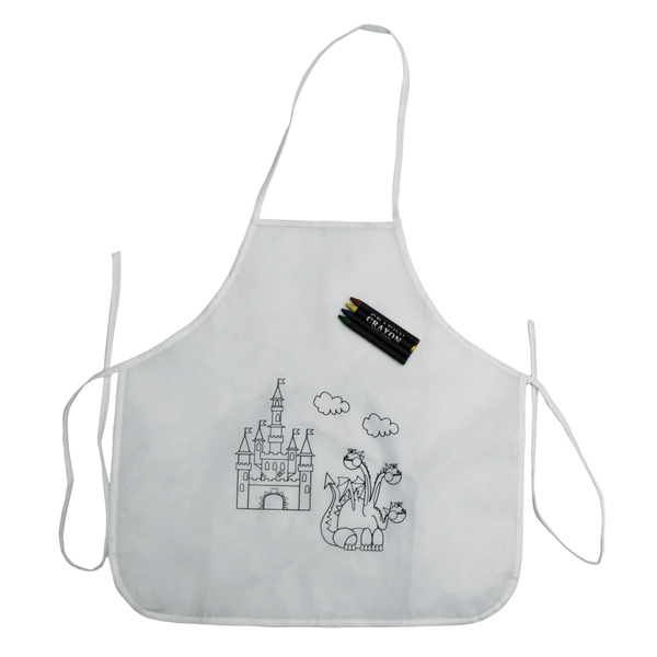 WHITE LINE apron with wax crayons,  white