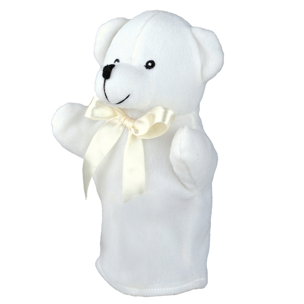 TEDDY BEAR plush hand puppet,  white