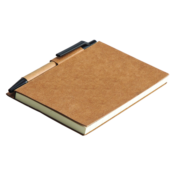 ECO LA LINEA notebook with clean pages 110x150 / 160 pages with pen,  black/beige
