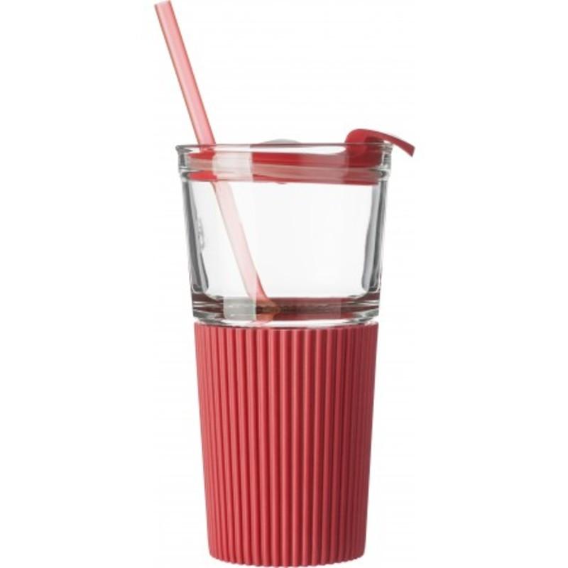 Glass drinking mug with matching straw