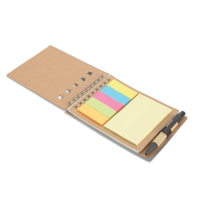 Notebook with pen sticky notes