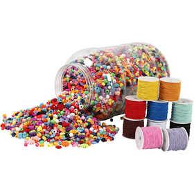 Bucket of Plastic Beads & Elastic Cords