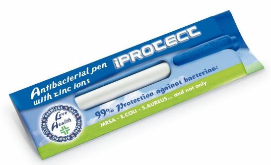 Antibacterial pen with zync ion