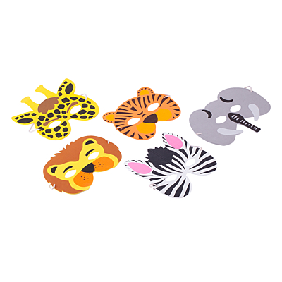 ANIMALS set of party masks, mix
