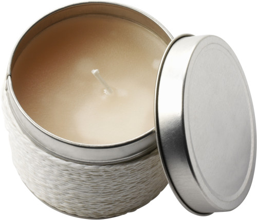 Tin with scented candle