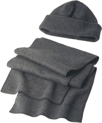 Polyester fleece (200 gr/m²) beanie and scarf