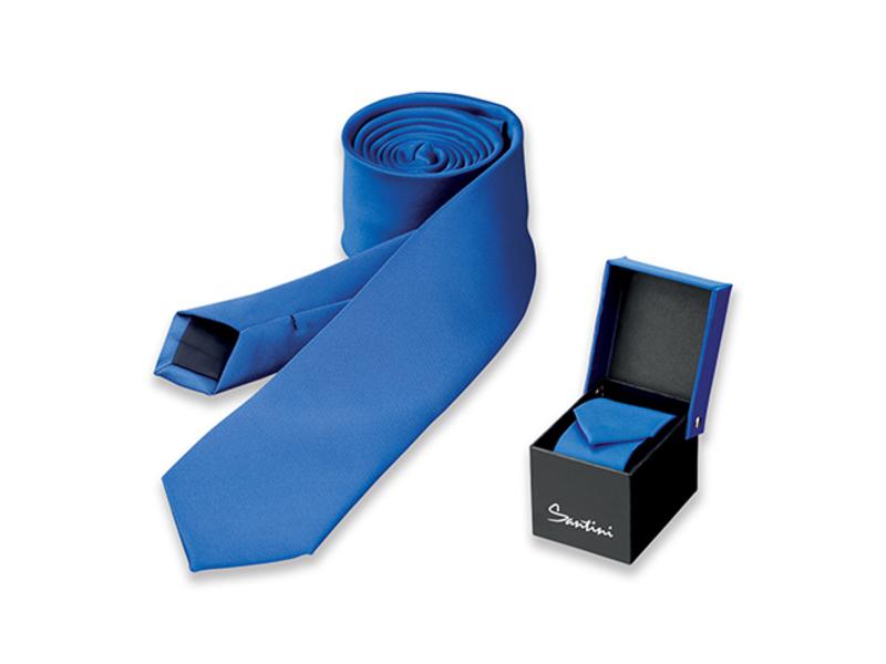 LAMBERT men´s polyester tie in gift box, SANTINI, Blue