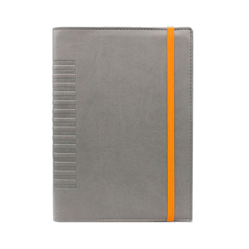 Agenda de lux Cometa cu elastic Gri/Orange, 15 x 21 cm