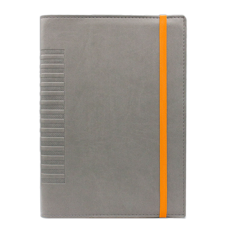 Agenda de lux Cometa cu elastic Gri/Orange, 17 x 24 cm