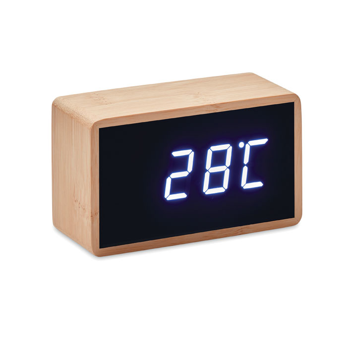 LED alarm clock bamboo casing