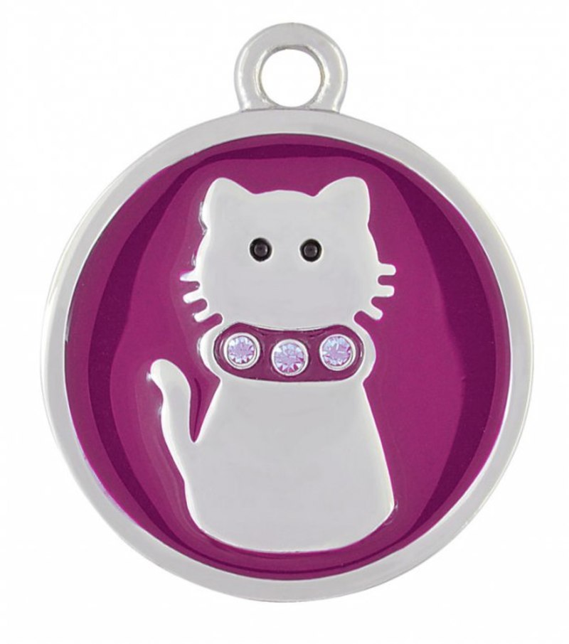 PENDANT STEEL PURPLE CAT - 24.5 mm
