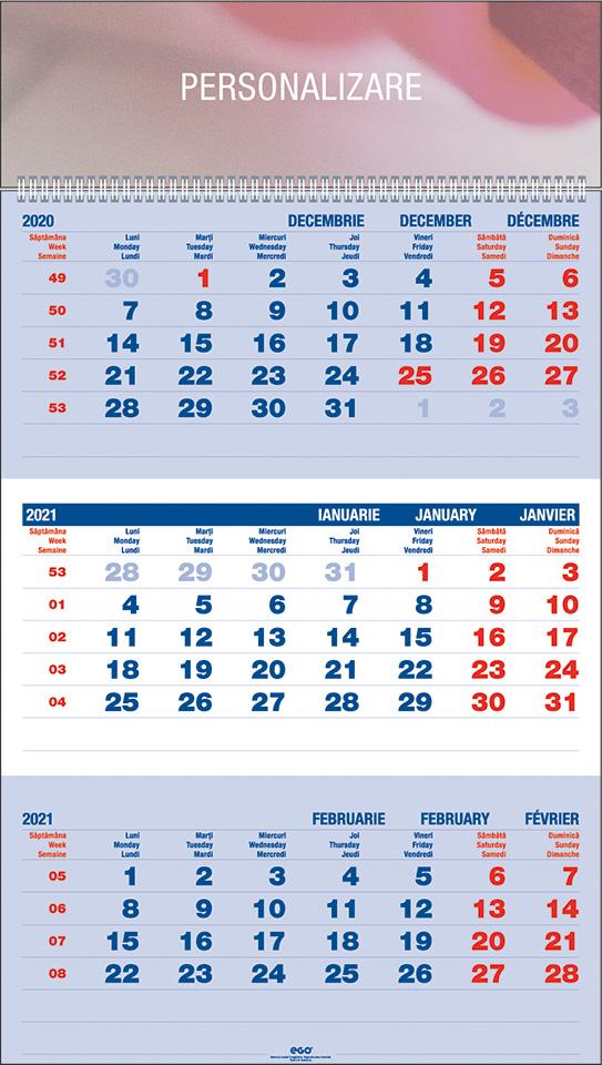 Calendar de perete TRIPTIC