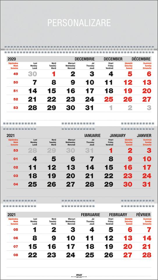 Calendar de perete TRIPTIC pliat