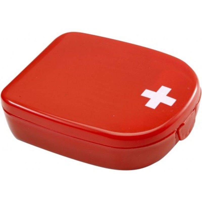 First aid kit in plastic case