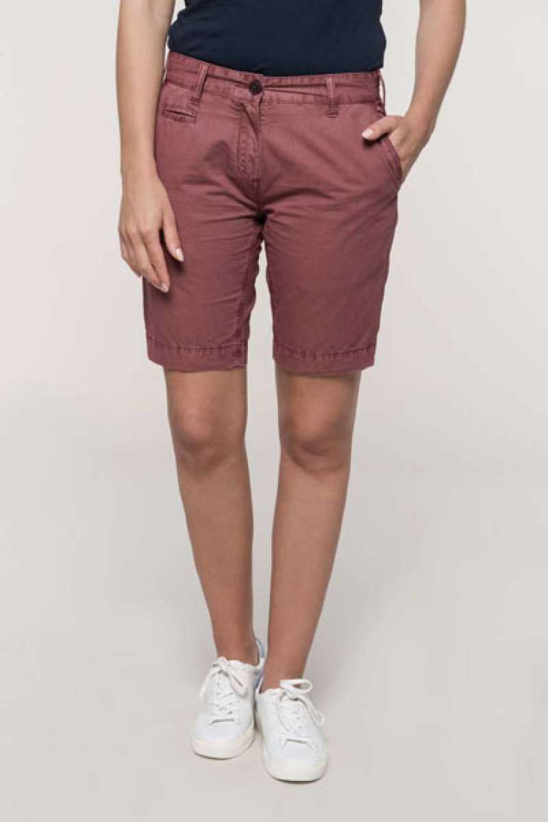 LADIES' WASHED EFFECT BERMUDA SHORTS