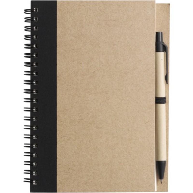 Wire bound notebook with ballpen.