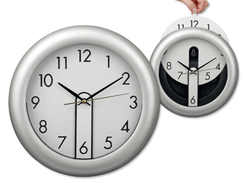 ELISEO wall clock with movable dial, Satin silver