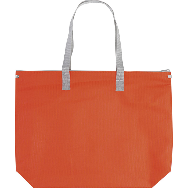 SHOPPING BAG WITH ZIPPER FASTENER