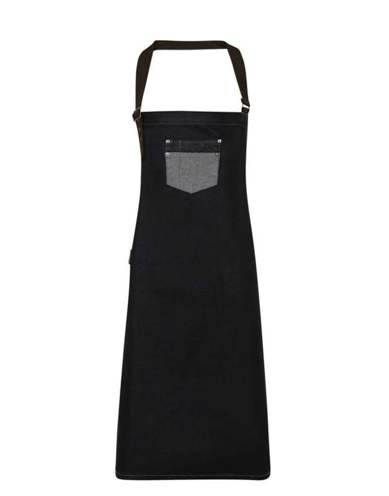 'DIVISION' WAXED LOOK DENIM BIB APRON WITH FAUX LEATHER
