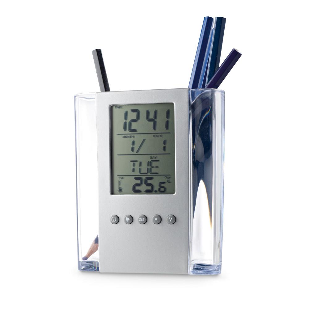 EDEM. Ball pen holder with digital clock
