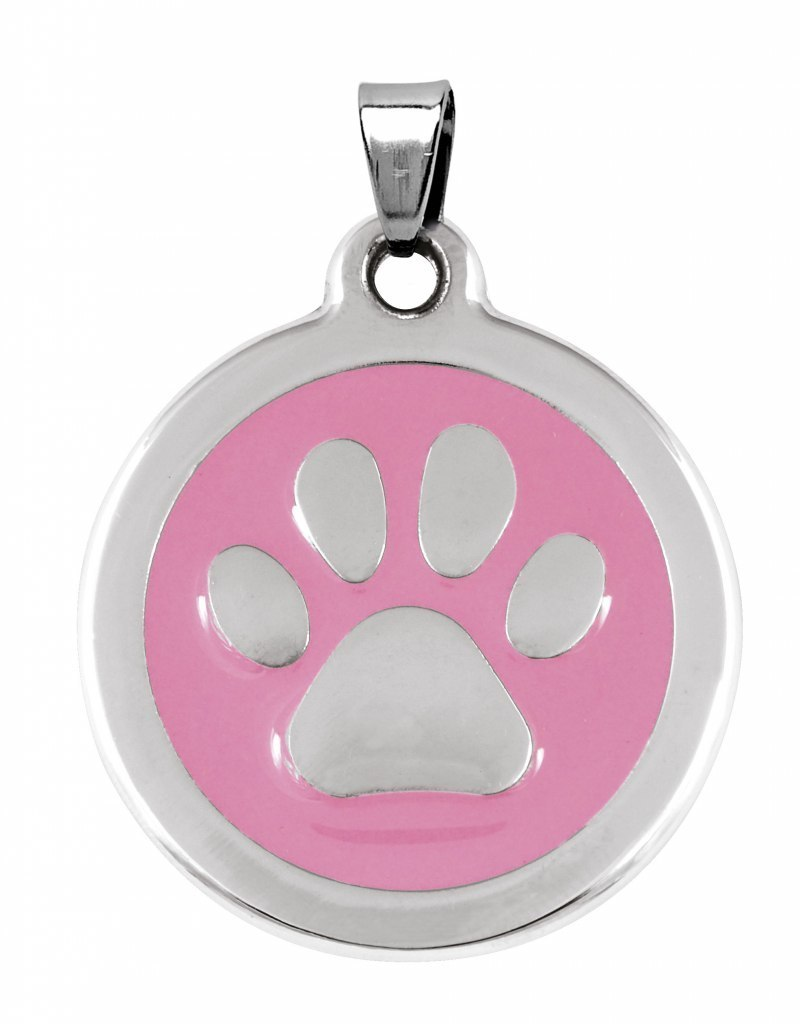 PENDANT STEEL PAW PINK - D=30 mm